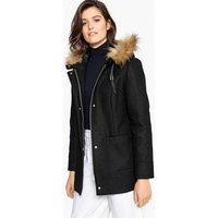 Faux Fur Hood Wool Mix Coat