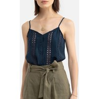 Embroidered Cami with Shoestring Straps.