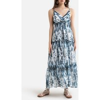 Printed Strappy Maxi Dress in Tie Dye Print with V-Neck