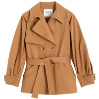 Tyson Short Trench Coat with Button Fastening in Cotton.