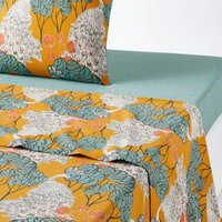 PEACOCK Bird and Floral Print Cotton Percale Flat Sheet