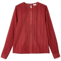 shop for Cotton Pleated Macrame Blouse with Long Sleeves and Crew Neck at Shopo