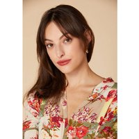 shop for Floral Print Mini Dress with Tie-Waist, V-Neck and Short Sleeves at Shopo