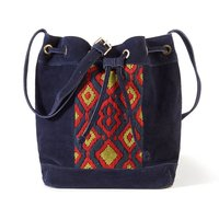 Suede Bucket Bag with Tribal Motif