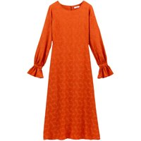 shop for Leaf Embroidered Midaxi Dress with Ruffled Long Sleeves at Shopo