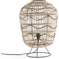 Martaban Metal and Rattan Table Lamp