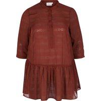 Plain Tunic with Polo Shirt Collar and 3/4 Length Sleeves