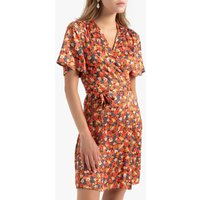 shop for Short Wrapover Dress in Floral Print with Short Sleeves and Tie-Waist at Shopo