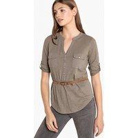 T-shirt kaki donna T-shirt con cintura