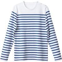 T-shirt Marine rigato bianco;Bianco rigato marine uomo T-shirt THIBAULT maniche lunghe alla marinara