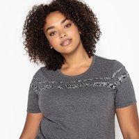 T-shirt Grigio chiné antracite donna T-shirt scollo rotondo con paillettes maniche corte
