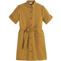 shop for Cotton Shirt Dress with Tie-Waist at Shopo