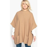 High Neck Wool Blend Poncho Jumper