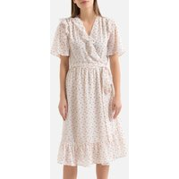 shop for Floral Wrapover Midi Dress with Ruffles and Short Sleeves at Shopo