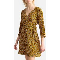 shop for Butterfly Print Wrapover Dress with Tie-Waist at Shopo