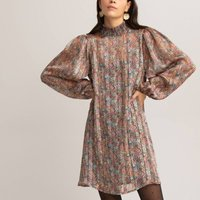 shop for Floral Print Mini Dress with Smocked High Neck and Puff Sleeves at Shopo