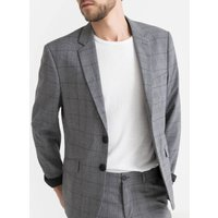 Slim Fit Checked Suit Jacket with Single-Breasted Buttons