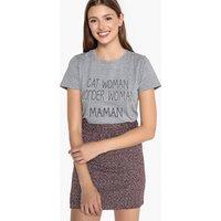T-shirt grigio donna T-shirt scollo rotondo scritta