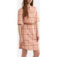 Mini Shift Dress in Checked Cotton/Linen Mix with Short Sleeves