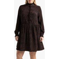 shop for Flared Floral Print Dress with Ruffled-Collar at Shopo