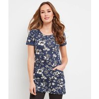 Short-Sleeved Floral Print Crew Neck Tunic