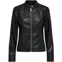 Faux Leather Jacket with High Neck