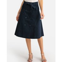 Full Mid-Length Skirt with Tie-Waist and Pockets