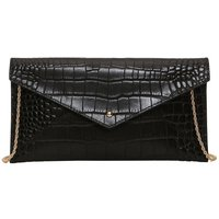 Mock Croc Clutch Bag in Patent Leather