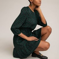 shop for Polka Dot Mini Dress with 3/4 Length Sleeves at Shopo
