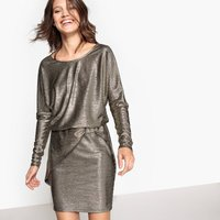 Shiny Dress with Drape Effect