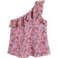 shop for Floral Print Asymmetric Blouse with Ruffle Trim at Shopo
