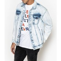 Oversized Denim Jacket with Print on Back