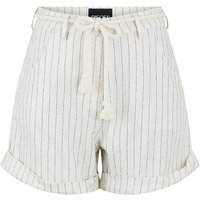 Striped Cotton/Linen Shorts with High Tie-Waist.