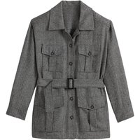 Herringbone Tweed Utility Jacket