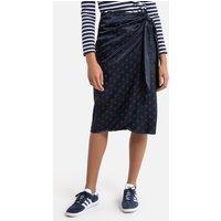 shop for Jacquard Wrapover Midi Skirt in Polka Dot Print at Shopo