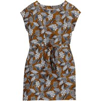 Linen Mix Floral Print Tie-Waist Shift Dress