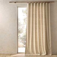 Nelson Tweed-Look Leather Tab Single Curtain