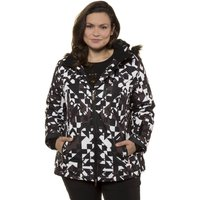 Graphic Print Ski Jacket with Faux Fur Hood