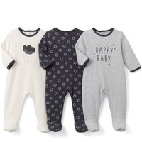 Pack of 3 Printed Cotton Sleepsuits Birth-3 Years