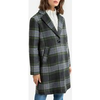 Checked Mid-Length Coat with Button Fastening.