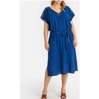 shop for Guipure Lace Detail Midi Dress with Short Sleeves at Shopo