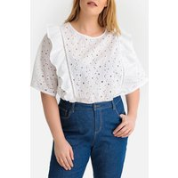shop for Floral Broderie Anglaise Embroidered Ruffled Blouse at Shopo