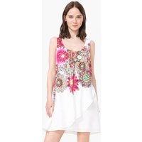 Short Draped-Effect Dress with Floral Print