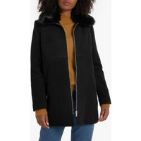 Wool Mix Coat with Faux Fur Collar and Pockets