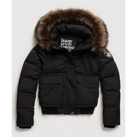 Zip-Up Padded Jacket with Faux Fur Hood