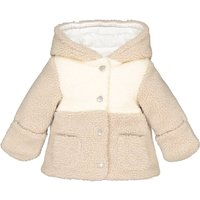 Warm Hooded Teddy Jacket in Faux Fur, 1 Month-3 Years