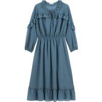 shop for Polka Dot Boho Midaxi Dress with Ruffled and Long Sleeves at Shopo