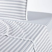 Comporta Flat Sheet in Nautical Striped Washed Cotton