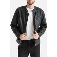 Faux Leather Bomber Jacket with Pockets
