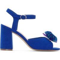 Sandali blu donna Sandali dettagli pompon con tacco flare